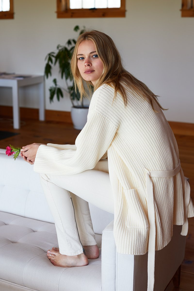 Organic Ribbed Wrap Sweater