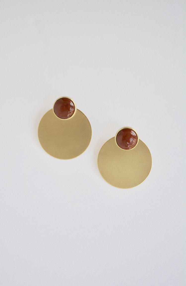 Red Jasper & Brass Disc Studs