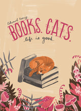 Books. Cats. Life is Good. // Edward Gorey Illustration Print