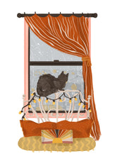 Window Cat: Bed Illustration Print
