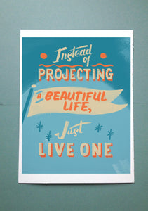 Live a Beautiful Life // Lettering Illustration Print