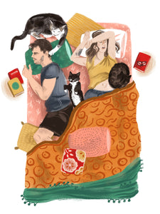 Bed with Cats Illustration Print