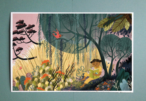 Reading Under Tree Illustration Print from