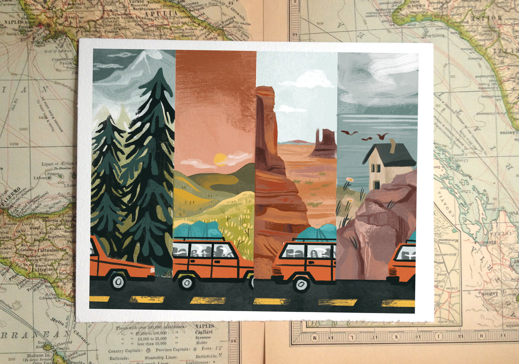 Road Trip Illustration Print