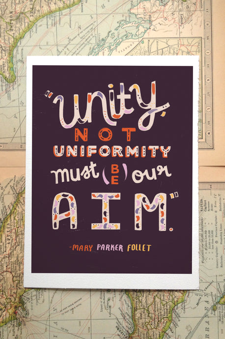 Unity Not Uniformity // Lettering Illustration Print