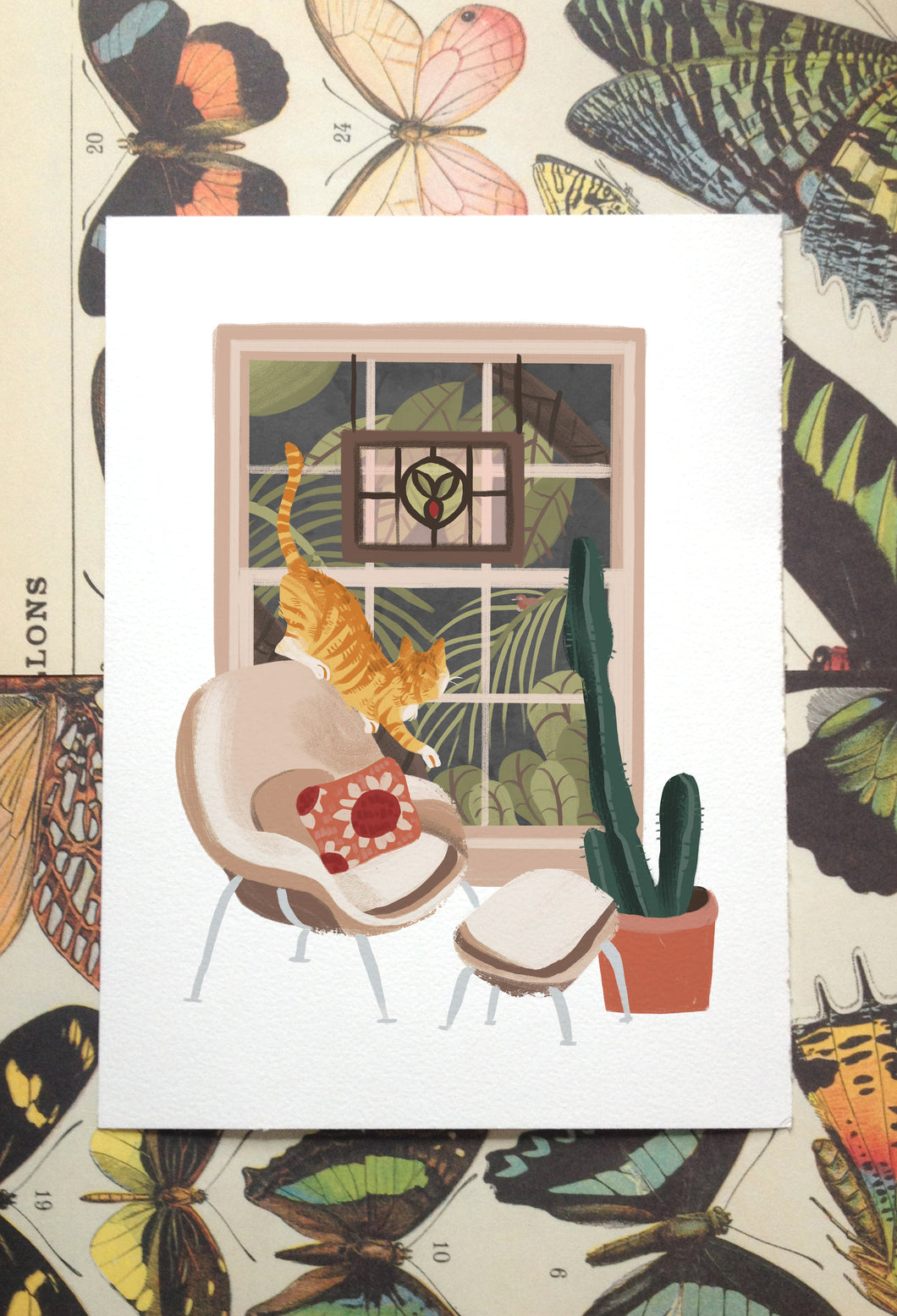 Window Cat: Chair Illustration Print