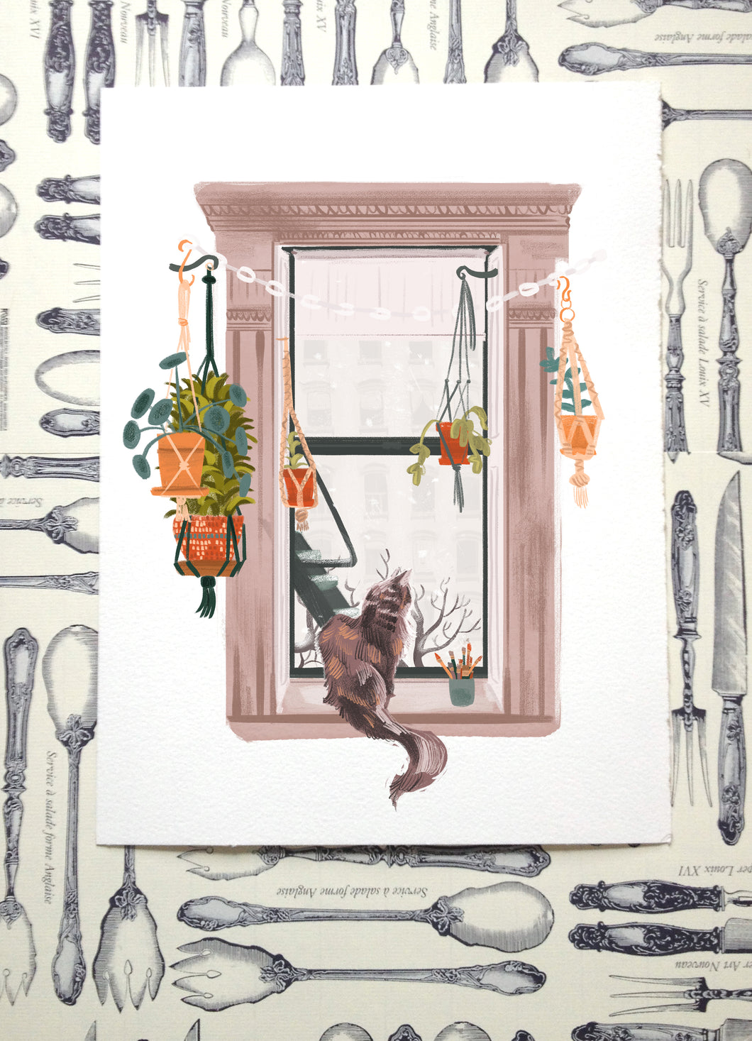 Window Cat Illustration Print