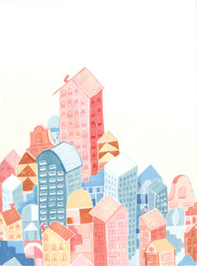 Colorful city illustration painting