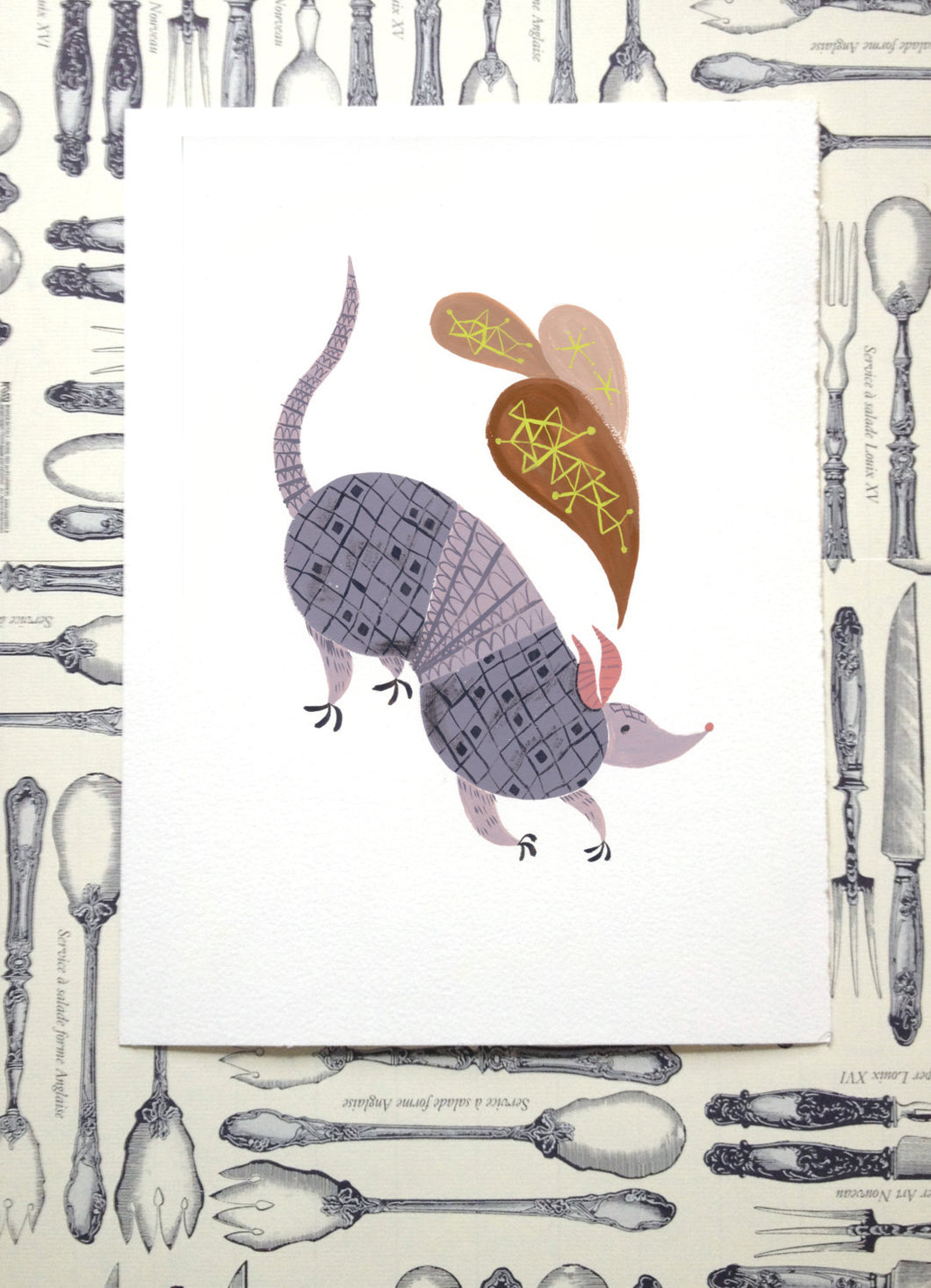 Purple armadillo illustration painting