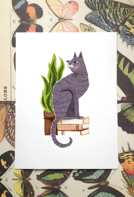 book purple cat house potted plant illustration painting