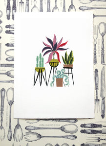 succulents cactus house potted plants illustration painting