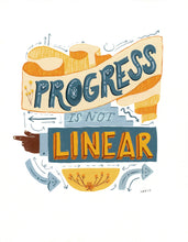 progress is not linear motivational lettering quote illustration painting