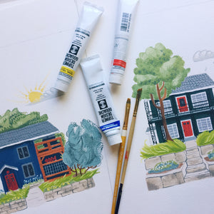 house home duplex gift painting custom artwork illustration