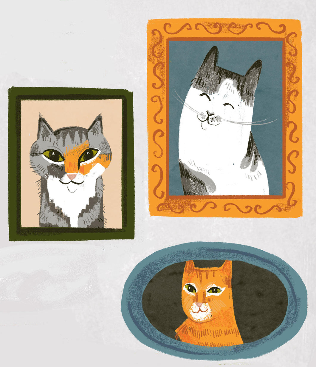 pets animals cats group portrait gift painting custom artwork illustration