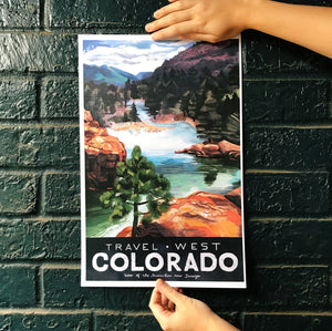 travel west poster united states america colorado animas river illustration painting