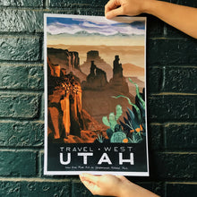 travel west poster united states america utah canyonlands national park illustration painting