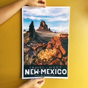 travel west poster united states america new mexico shiprock illustration painting