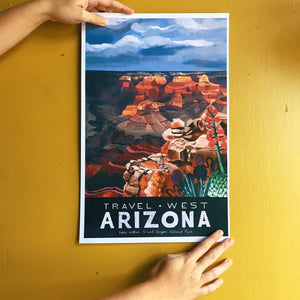 travel west poster united states america arizona grand canyon national park illustration painting