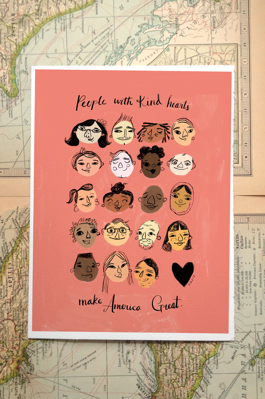 people with kind hearts make america great diversity illustration painting