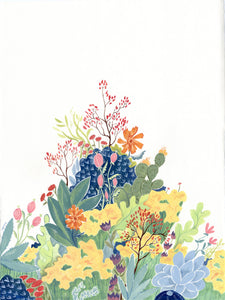 Colorful floral flowers botanical illustration painting