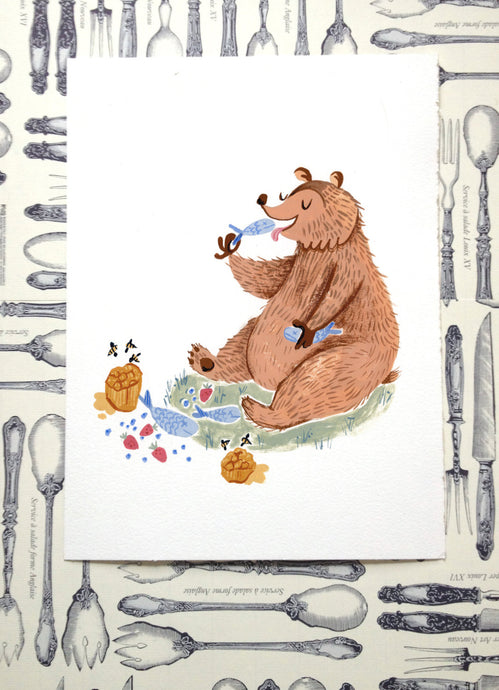 hungry eating cartoon bear illustration painting