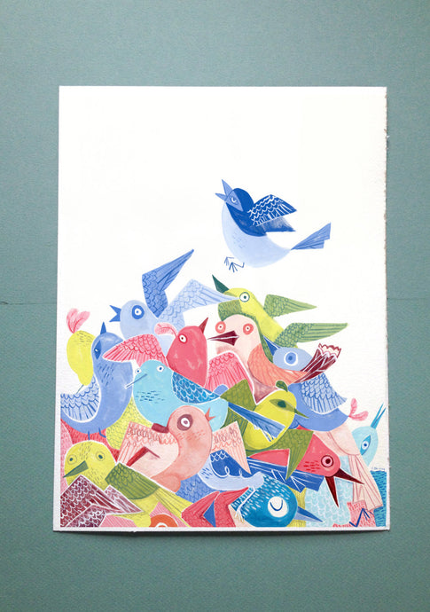Colorful birds illustration painting