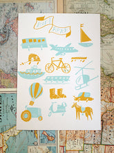 travel transportation airplane ship bus boat illustration screen print