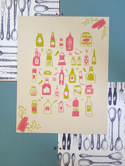 kitchen condiments ketchup mustard pickles mayo screen print illustration