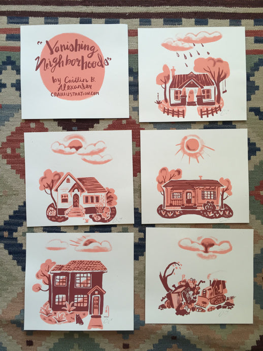 vintage homes houses screen print set illustration