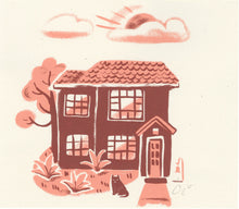 vintage homes houses screen print duplex illustration