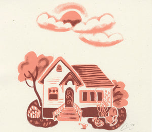 vintage homes houses screen print  illustration
