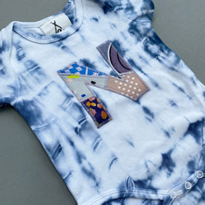 Personalised One of a kind Bespoke Initial Letter Baby Short Sleeve Shibori Bodysuit - Customised to your requirements