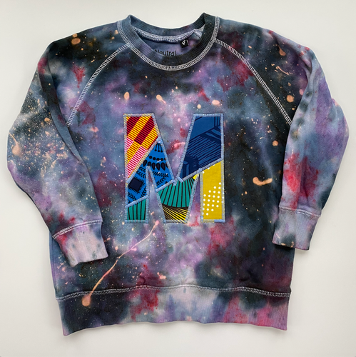 Personalised One of a kind Bespoke Letter Initial Kids Galaxy Tie Dye Sweatshirt - Customised to your requirements