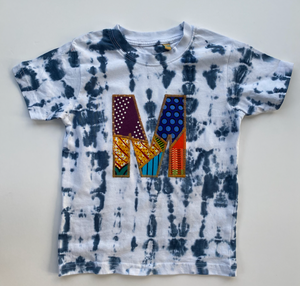 One off sample Shibori tie dye short sleeve T-shirt Letter M age 2-3y