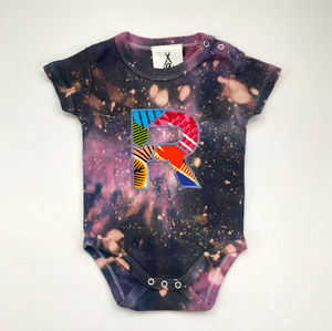 Personalised One of a kind Bespoke Initial Letter Baby Short Sleeve Galaxy Tie Dye Bodysuit - Customised to your requirements