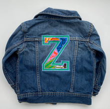 *NEW* Personalised One of a kind Varsity Letter Bespoke Kids Up-cycled Denim Jacket - Customised to your requirements