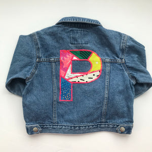 Personalised One of a kind Bespoke Kids Denim Block Letter Up-cycled Jacket - Customised to your requirements