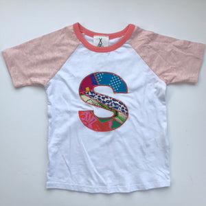 One off sample letter S Raglan sleeve tee size 3-4y