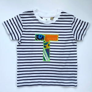 One off sample Breton Stripe short sleeve T-shirt Letter T age 18-24m