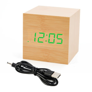 Holz - LED Desktop Wecker