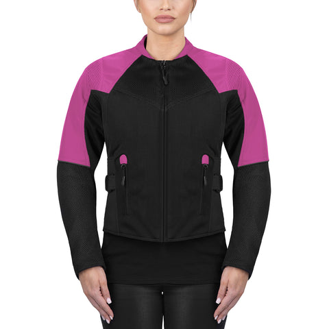 Viking Cycle Freedom Black/Pink Textile Motorcycle Jacket For Women
