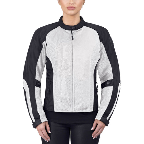 Viking Cycle Warlock Silver/Gray Mesh Motorcycle Jacket for Women