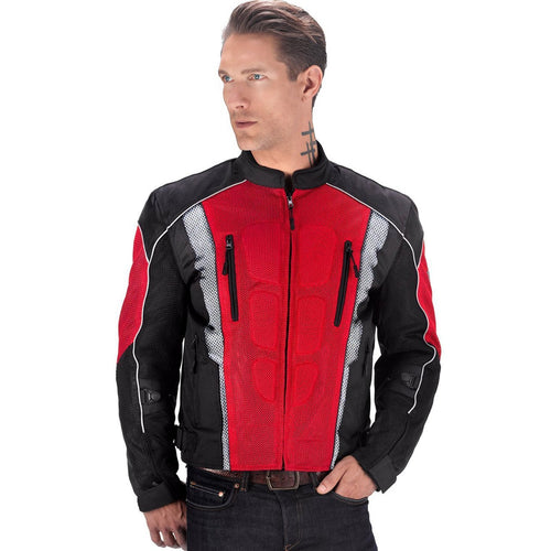 Warlock Mesh Motorcycle Jacket Black/Red