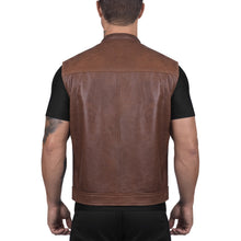 Viking Cycle Gardar Brown Leather Motorcycle Vest for Men