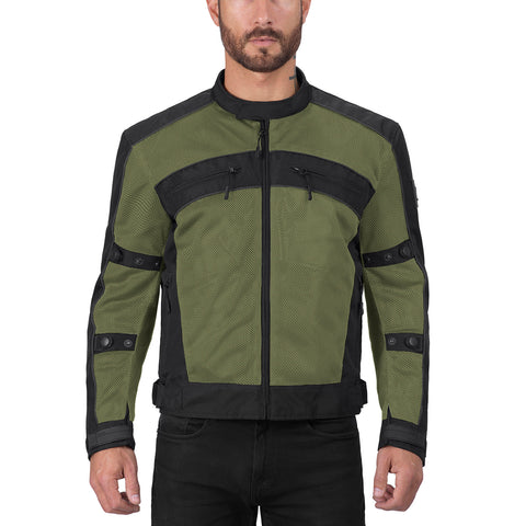 Viking Cycle Ironside Military Green Textile Motorcycle Jacket for Men