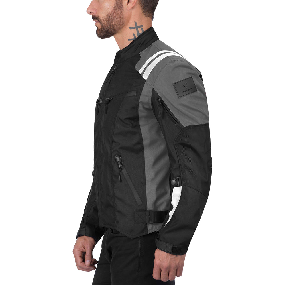 Viking Cycle Ironborn Gray Textile Motorcycle Jacket for Men