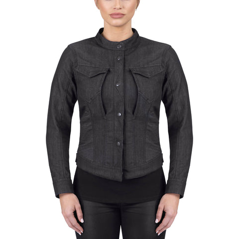 Viking Cycle Freyja Gray Denim Motorcycle Riding Over Shirt for Women