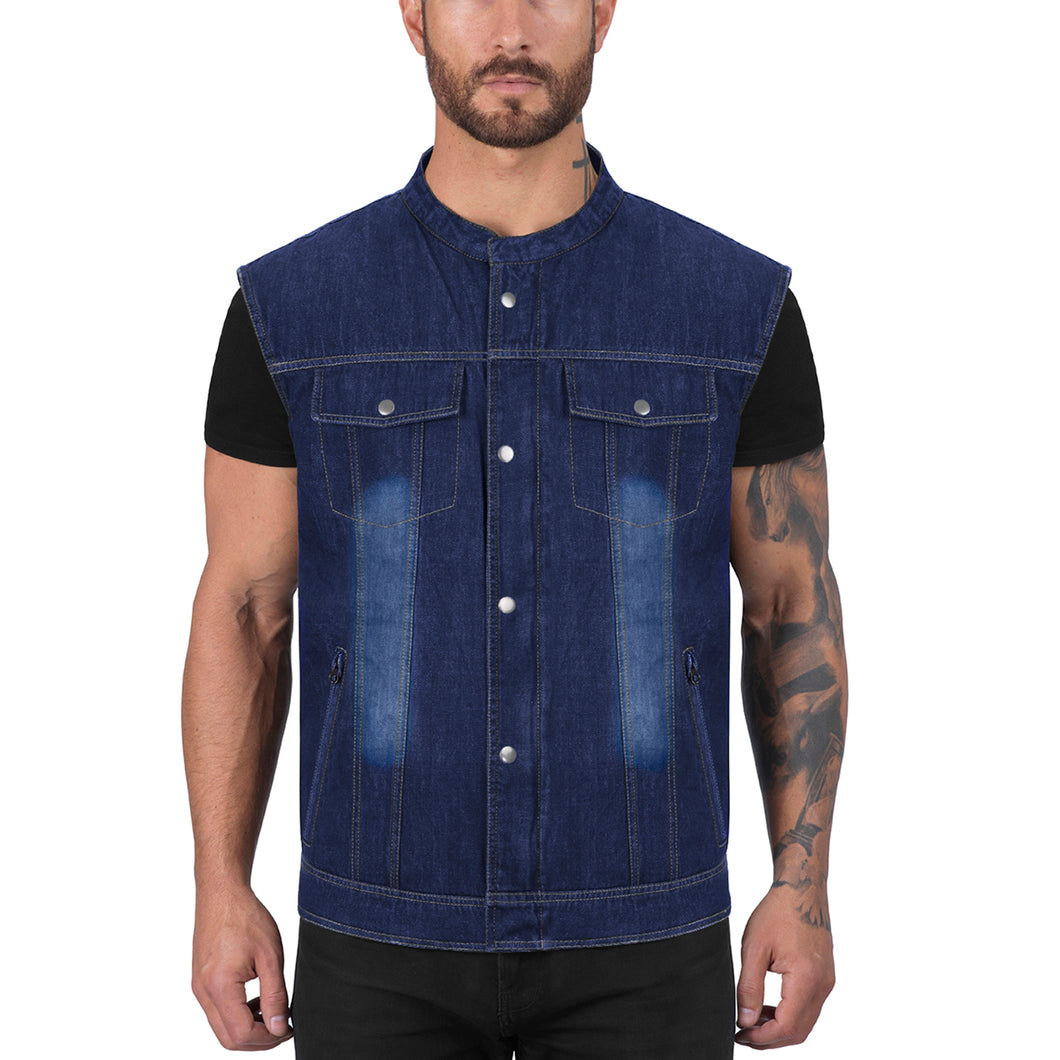 Viking Cycle Blue Denim Motorcycle Vest for Men