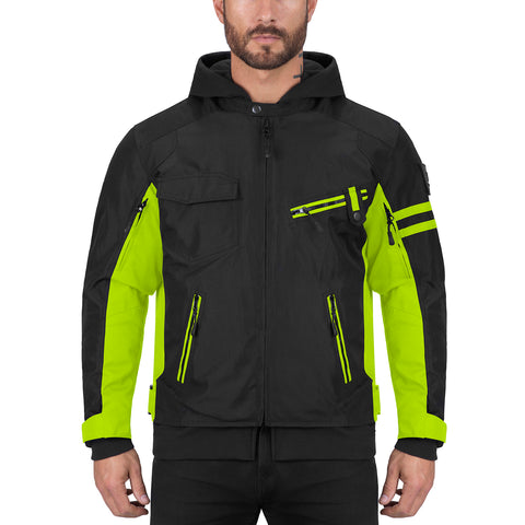 Viking Cycle Unshackled Black/Hi Viz Neon Textile Motorcycle Hoodie Jacket for Men
