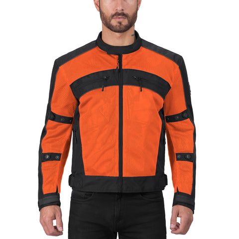Viking Cycle Ironside Orange Textile Motorcycle Jacket for Men